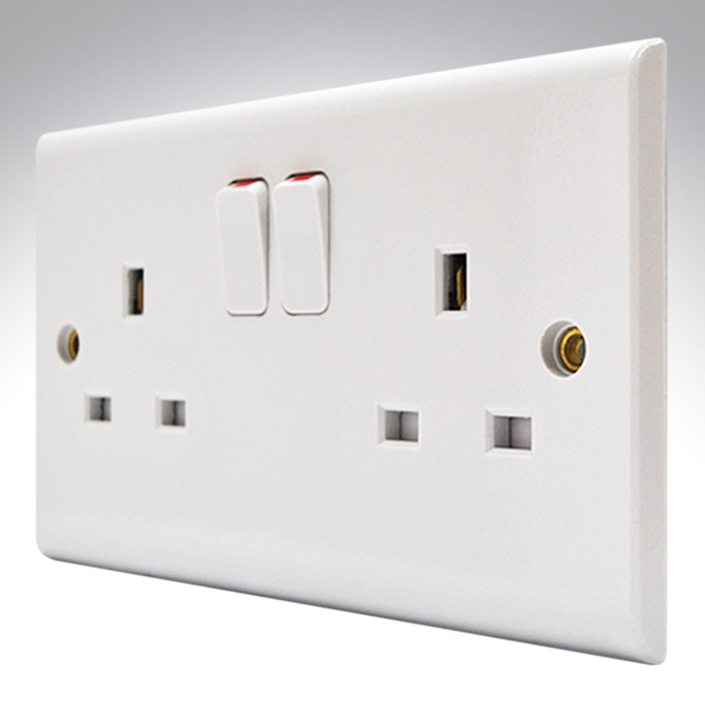 13A Switched Socket 2 Gang BS 1363 Supplied With Single Earth Single Pole.